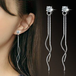 NEW 925 Sterling Silver Diamond Swirl Earrings
